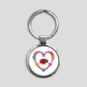 Ladybug Heart Round Keychain