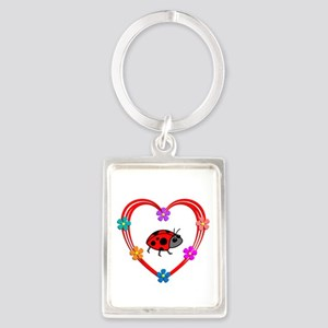 Ladybug Heart Portrait Keychain