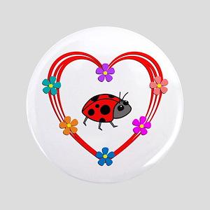 Ladybug Heart Button