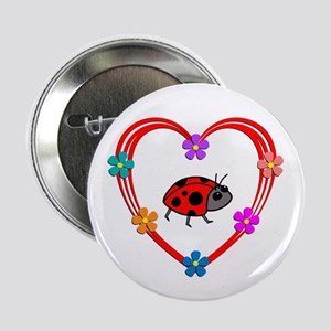 "Ladybug Heart 2.25"" Button"