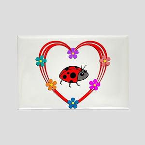 Ladybug Heart Rectangle Magnet
