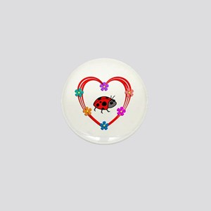 Ladybug Heart Mini Button