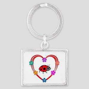 Ladybug Heart Landscape Keychain