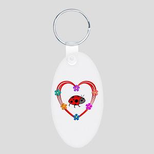 Ladybug Heart Aluminum Oval Keychain