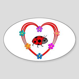Ladybug Heart Sticker (Oval)