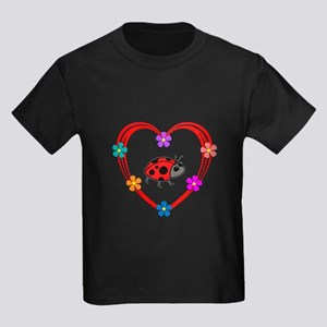 Ladybug Heart Kids Dark T-Shirt
