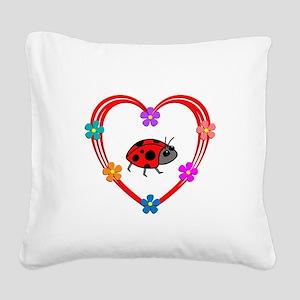 Ladybug Heart Square Canvas Pillow