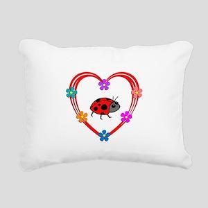 Ladybug Heart Rectangular Canvas Pillow