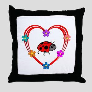 Ladybug Heart Throw Pillow