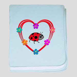 Ladybug Heart baby blanket