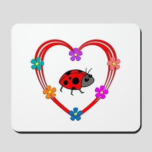 Ladybug Heart Mousepad