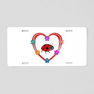 Ladybug Heart Aluminum License Plate