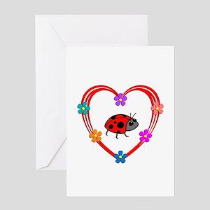 Ladybug Heart Greeting Card