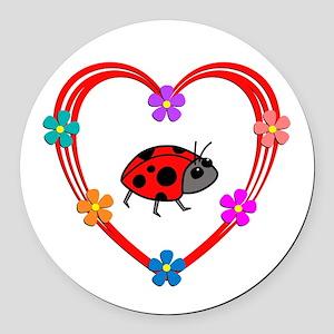 Ladybug Heart Round Car Magnet