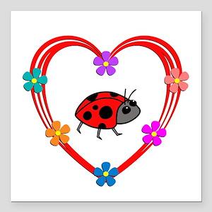 "Ladybug Heart Square Car Magnet 3"" x 3"""