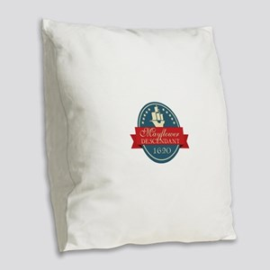 Mayflower Descendant Emblem Burlap Throw Pillow