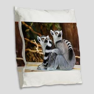 Lemurs Rock Burlap Throw Pillow