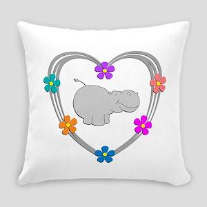 Hippo Heart Everyday Pillow