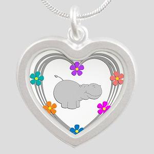 Hippo Heart Silver Heart Necklace
