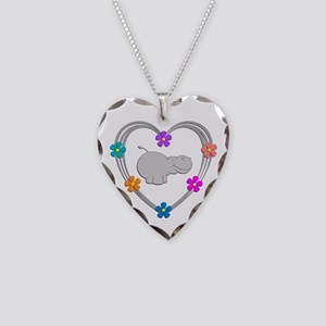 Hippo Heart Necklace Heart Charm