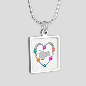Hippo Heart Silver Square Necklace