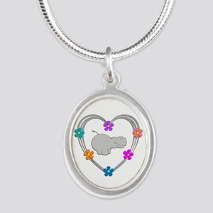 Hippo Heart Silver Oval Necklace