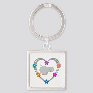 Hippo Heart Square Keychain