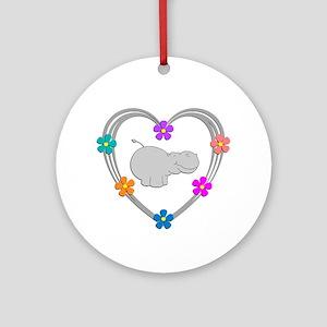 Hippo Heart Round Ornament