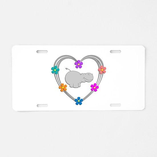 Hippo Heart Aluminum License Plate
