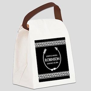Elegant Wedding Monogrammed Heart Canvas Lunch Bag