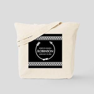 Elegant Wedding Monogrammed Hearts Black Tote Bag
