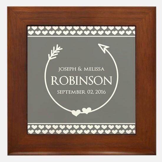 Stylish Gray Name Monogram Wedding Framed Tile