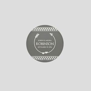Stylish Gray Name Monogram Wedding Mini Button