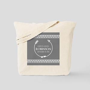 Stylish Gray Name Monogram Wedding Tote Bag