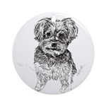 """Yorkshire Terrier"" by M. Nicole va Round Ornament"
