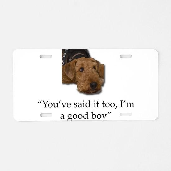 Sulking Airedale Terrier Gi Aluminum License Plate