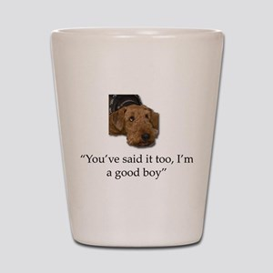 Sulking Airedale Terrier Giving Cute Ey Shot Glass