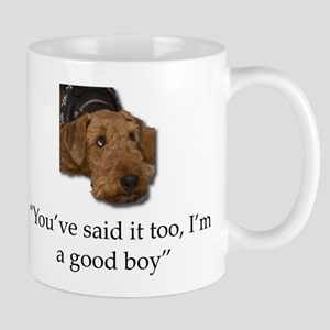 Sulking Airedale Terrier Giving Cute Eyes Mugs