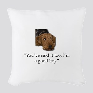 Sulking Airedale Terrier Givin Woven Throw Pillow