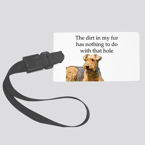 Airedale Sees no connection betw Large Luggage Tag