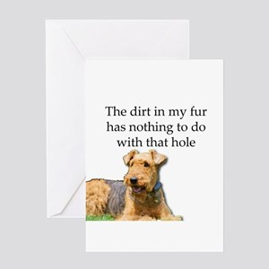 Airedale Sees no connection between Greeting Cards
