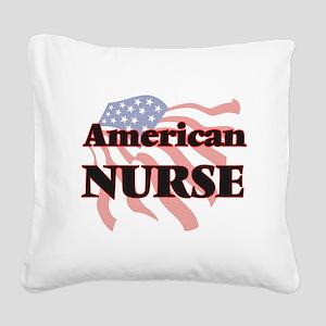American Nurse Square Canvas Pillow