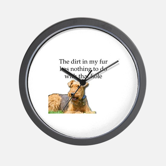 Airedale Sees no connection between his Wall Clock