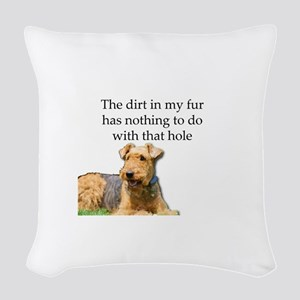 Airedale Sees no connection be Woven Throw Pillow