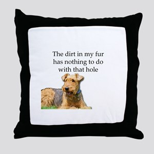 Airedale Sees no connection between h Throw Pillow