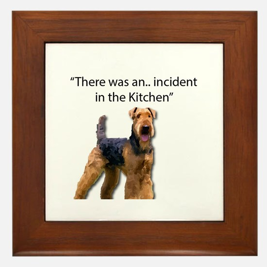 """Airedale Caused """"Incident"""" in Kitchen Framed Tile"""