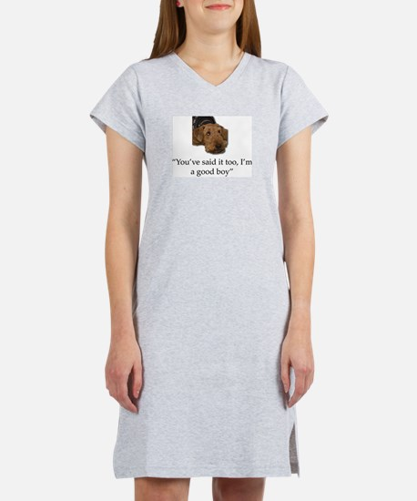 Sulking Airedale Terrier Giving Women's Nightshirt