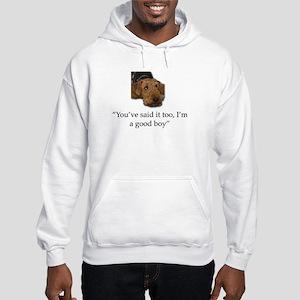 Sulking Airedale Terrier Giving Hooded Sweatshirt