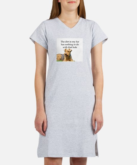 Airedale Sees no connection bet Women's Nightshirt