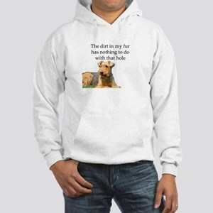 Airedale Sees no connection betw Hooded Sweatshirt
